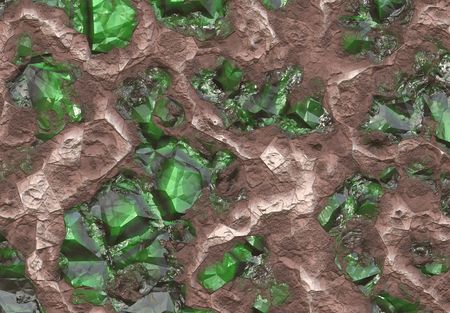 myanmar: Emerald Stone Vein Buried in Earth and Stone