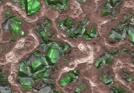 Myanmar: Emerald veine de pierre enterr� dans la terre et de pierre