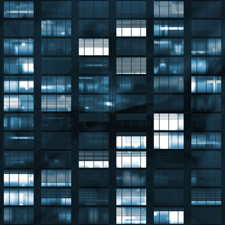 snooping: Voyeuring Office Building After Dark In Blue Tones