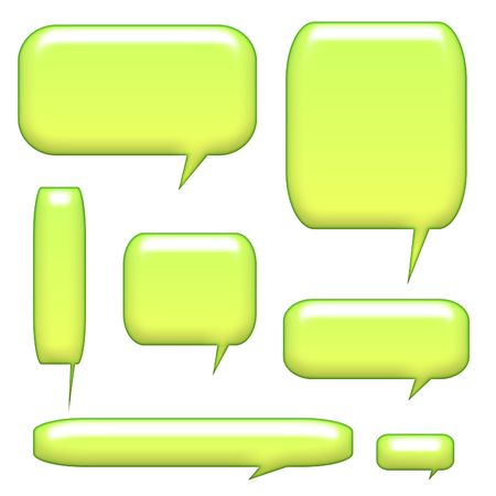 caption: 3D Caption Communication Bubbles Isolated on a white background Stock Photo