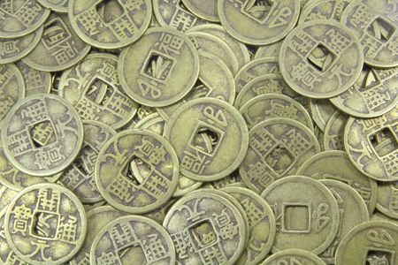 coins pile: Asian Old Business Currency Coins Pile Background Stock Photo