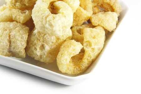 chicharon: Pork Rinds also known as Chicharon in the Philippines Stock Photo