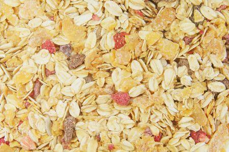 sultanas: Muesli Background Including Berries, Raisins, Grains and Fruits Stock Photo