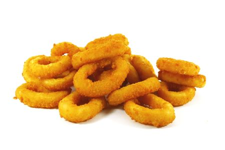 onion isolated: Onion Rings the Ultimate Fast Food Snack Stock Photo