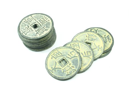 Ancient Chinese Coins Different Types Full Background photo
