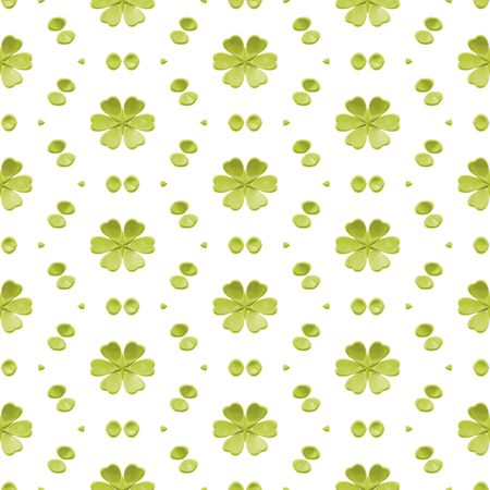 Green Simple Floral Seamless Background in White photo