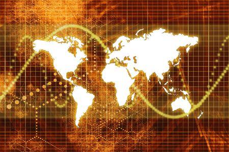Orange Stock Market World Economy Abstract Background Stock Photo - 3679756