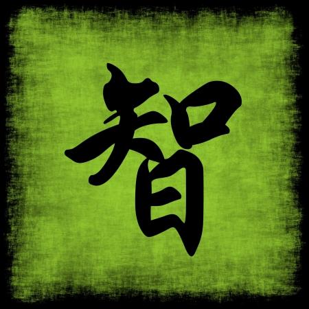 Wisdom Chinese Calligraphy Symbol Grunge Background Set  photo