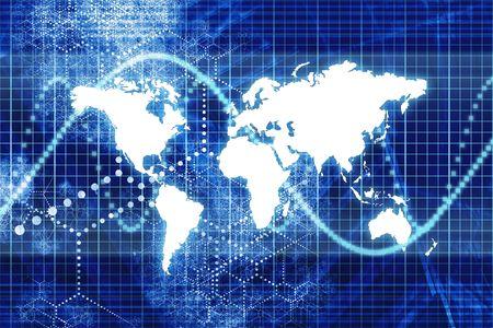 penetracion: Azul mundo digital con el gr�fico resumen Foto de archivo