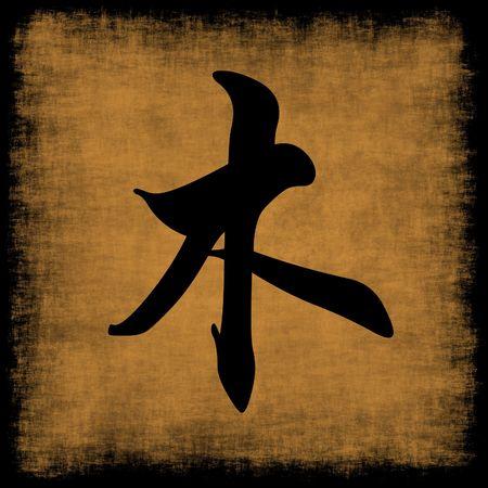 calligraphie chinoise: Calligraphie chinoise cinq �l�ments Grunge Set de bois.