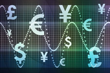 Blue Green Financial Sector Global Currencies Abstract Background Wallpaper photo