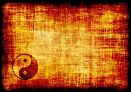 yin yang: Yin Yang grabado en un pergamino de fondo