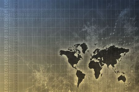 Corporate Worldwide Growth Abstract Background With Map Stock Photo - 3752831