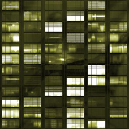 nite: Voyeuring Office Building After Dark In Yellow Tones
