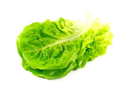 Lettuce Leaves Isolated on a White Background Stock Photo