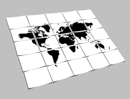 segregated: World Map Concept of Separated Note Papers Abstract Background