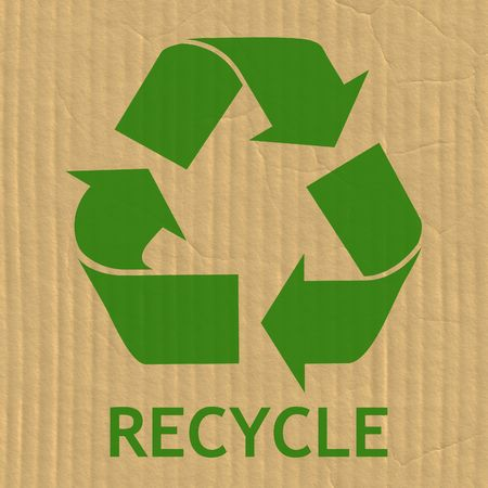 going green: Recycling Symbol on a Cardboard Box Texture