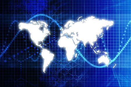 penetration: Blue Digital World Business Abstract With Graph Background