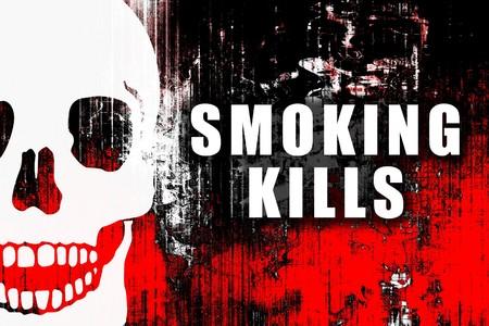 anti smoking: Smoking Kills Warning Text Sign on Abstract
