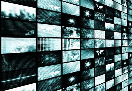 monitoreo: Azul futurista de televisi�n digital y canales de fondo Foto de archivo