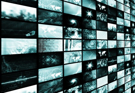 the latest: Blue Futuristic Digital TV and Channels Background Stock Photo