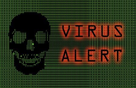 Virus Alert Green Ascii Skull Abstract Art Stock Photo - 3985407
