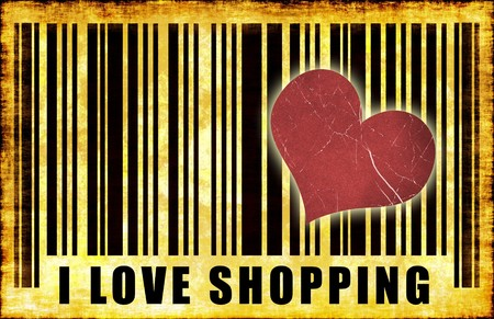 go shopping: I Love Shopping Barcode Grunge Abstract Poster