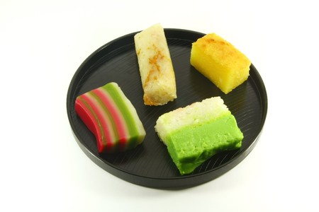 commonly: Exotic Colorful Traditional Cakes Commonly Found in South Asia Stock Photo