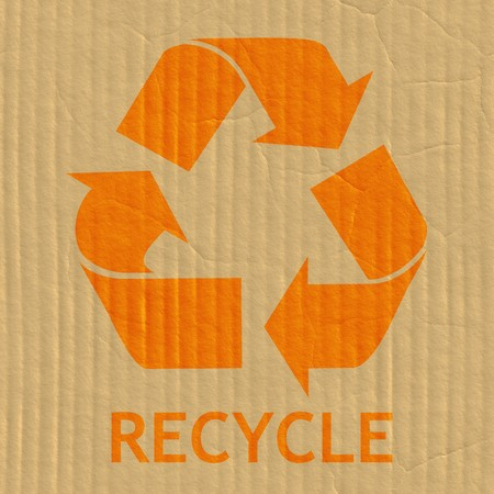 an illustration promoting: Recycling Symbol on a Cardboard Box Texture