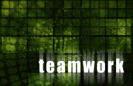 teaming up: Teamwork as Corporate Concept Abstract Green Art