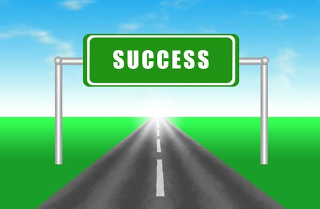 goal achievement: Road to Success Highway Illustration Cartoon Art