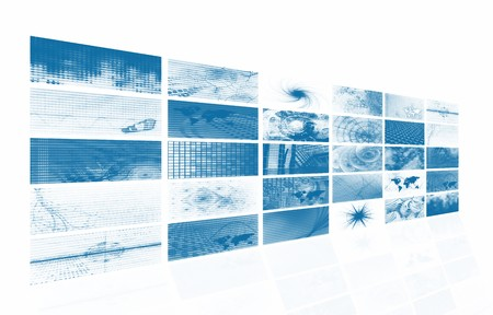 channel: Blue Futuristic Digital TV and Channels Background Stock Photo