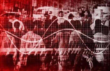 weakening: Economic Gloom Grim Forecast Abstract in Red Stock Photo