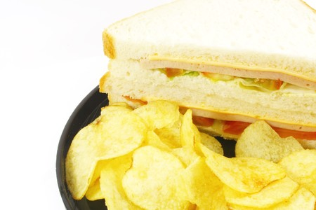 Sandwich and Chips Meal Combo on a White Background photo