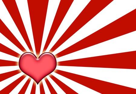 corazones: Corazon Love Sunburst Background With Red and White  Stock Photo