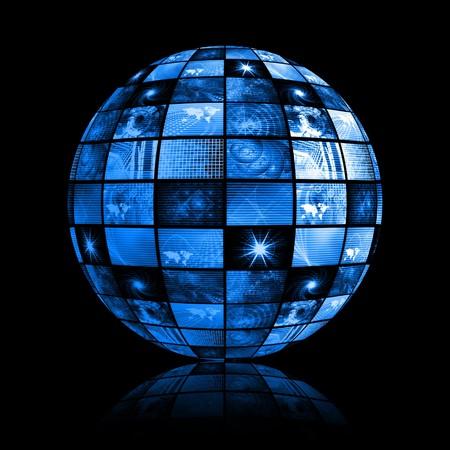 Blue Futuristic Digital TV Channels as Background photo