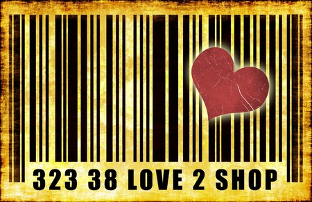 I Love To Shop Barcode Grunge Abstract Poster Stock Photo - 4308819