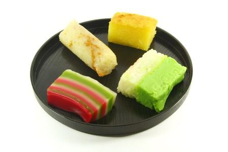 malay food: Exotic Small Cakes Known as Nyonya Kueh Stock Photo