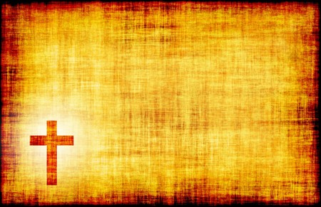 Holy Cross Engraved on a Parchment Background Stock Photo