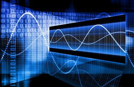 holographic: Blue Azienda Dati Diagramma come uno Abstract