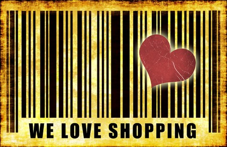 We Love Shopping Barcode Grunge Abstract Poster photo