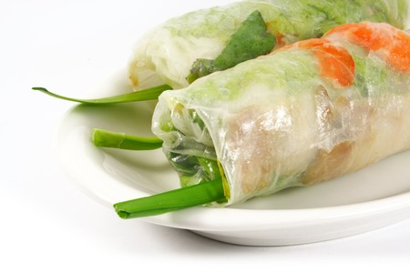 spring onion: Fresh Handmade Vegetable Spring Rolls On White Surface