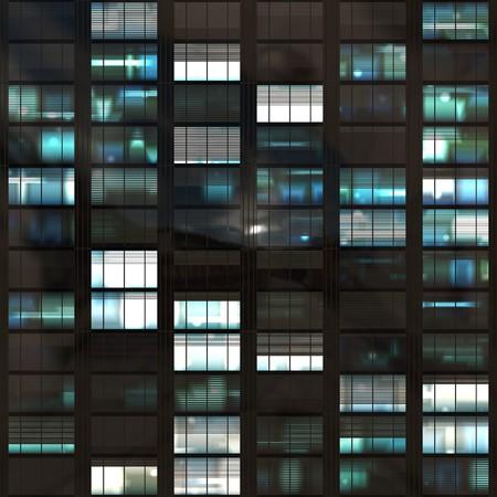 ブルーの色調で暗闇の後の voyeuring 事務所ビル 写真素材 - 4523046