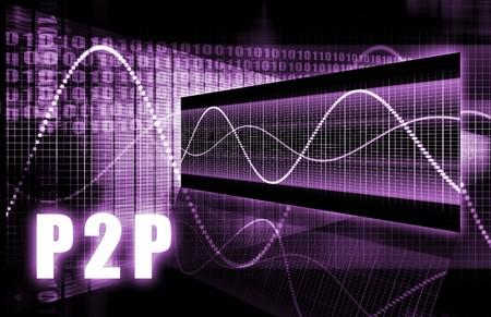 p2p: P2P or Peer to Peer Concept Stock Photo