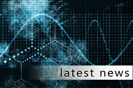 business news: Latest News in a Blue Data Background Art Stock Photo