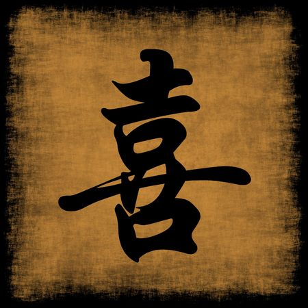 words of wisdom: Happiness Chinese Calligraphy Symbol Grunge Background Set