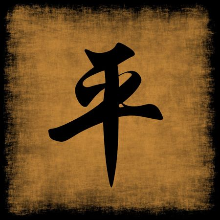 Peace Chinese Calligraphy Symbol Grunge Background Set photo