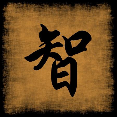 Wisdom Chinese Calligraphy Symbol Grunge Background Set
