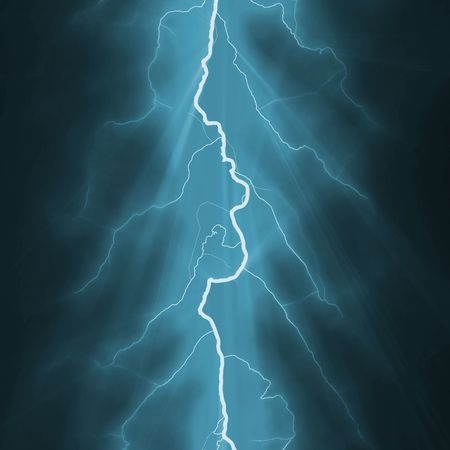 forked: Lightning Bolt Forked Against a Dark Sky Stock Photo