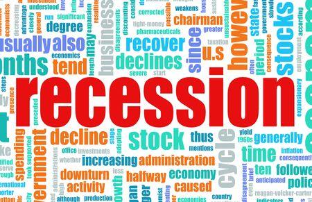 Recession Economic Concept Text Cloud Background photo